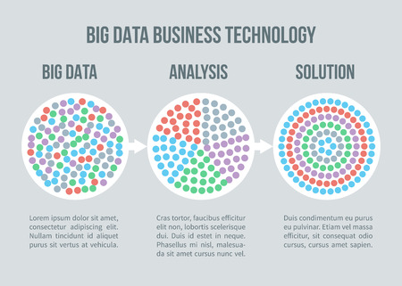 Big data vector concept. Business data analytics, solution for smart business planning. Solution and analysis information illustration