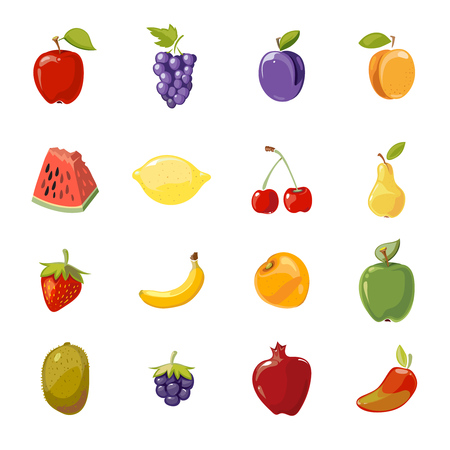 red grape: Vector juicy fruits collection isolated over white. Collection of fresh food illustration