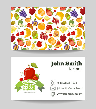 business products: Organic fruits farmer business card template. Business with natural fruit. Vector illustration Illustration