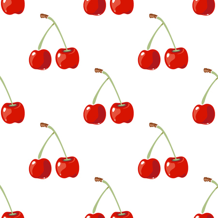 manic: Red cherry vector seamless background. Wallpaper with fresh fruit illustration