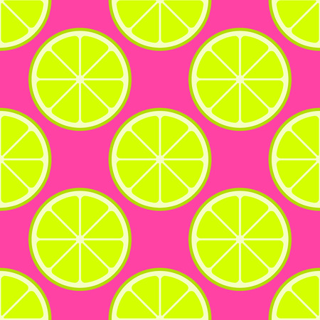Vector bright lime slices seamless background. Green organic flat illustration Illustration