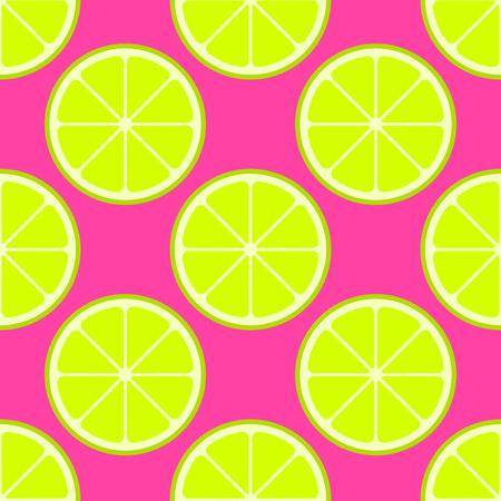 Vector bright lime slices seamless background. Green organic flat illustration Stock Illustratie