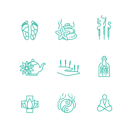 phytotherapy: Alternative medicine homeopathy herb thin line vector icons. Aromatherapy and phytotherapy, herbal organic drugs illustration Illustration