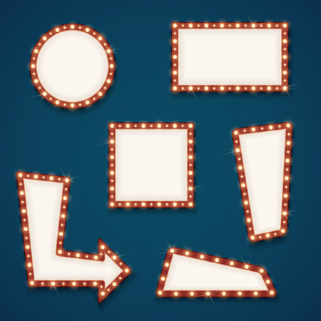 signboard form: Retro road light empty signs banners with bulbs for cinema, hotel and casino. Vector illustration