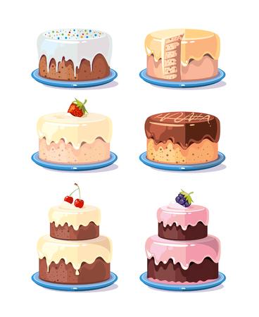 Gâteau à la crème délicieux gâteaux vector set dans le style de bande dessinée. Gâteau d'anniversaire au chocolat et fruits illustration Banque d'images - 63061213