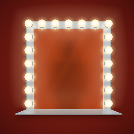 Mirror in bulbs frame with makeup table for dressing room or backstage, vector illustration