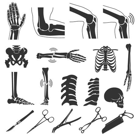 human bones: Orthopedic and spine vector black symbols. human bones icons. Hand and leg, skull and joint knee illustration Illustration
