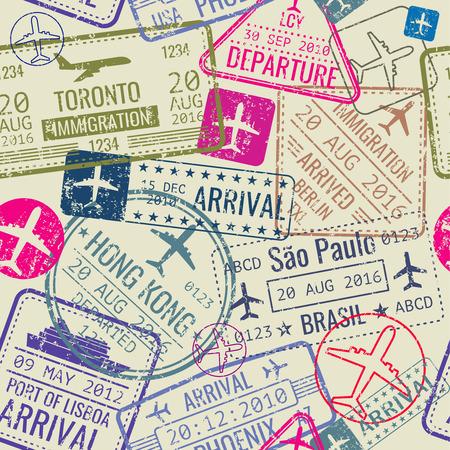 パスポート ビザ切手とシームレスなパターンをベクトル。入国スタンプと背景し、旅行ビザの図  イラスト・ベクター素材