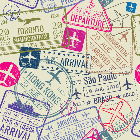 Vector seamless pattern with passport visa stamps. Background with immigration stamp and travel visa illustration