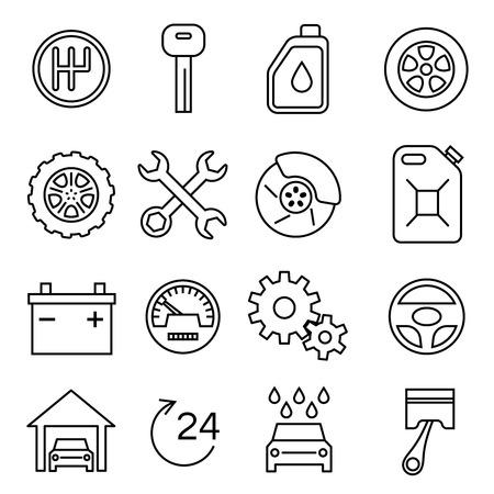 Auto onderdelen, diensten, auto reparatie dunne lijn vector iconen set. Batterij en olie, rem en transmissie afbeelding Vector Illustratie