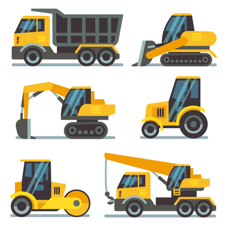 heavy: Construction machines, heavy equipment, construction vehicles flat vector icons. Excavator and crane, digger and loader illustration