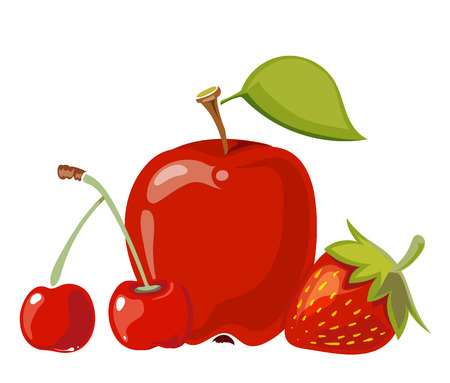 Heap of red fruits apple cherry and strawberry isolated over white. Vector illustration