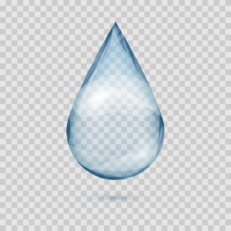 Falling transparent water drop vector isolated on a plaid background illustration