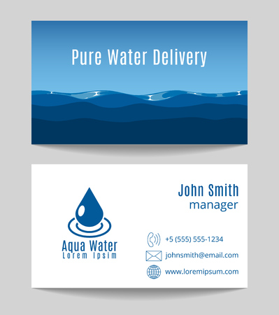 potable: Pure water delivery business card both sides template. Natural drink freshness, vector illustration Illustration