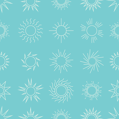 suns: Suns in the sky seamless pattern. Linear background star. Vector illustration Stock Photo
