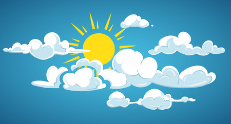Blue sky, sun and white clouds. Weather cloudscape with sunlight, vector illustration