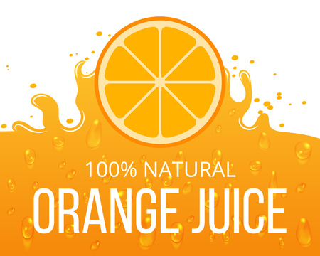 orange juice: Natural orange juice label template. Juicy natural citrus, vector illustration Illustration