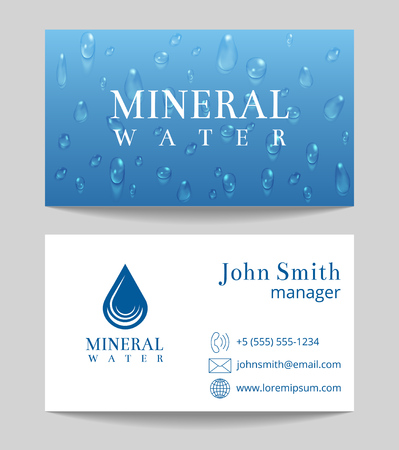 mineral water: Mineral water delivery business card both sides template. Vector illustration