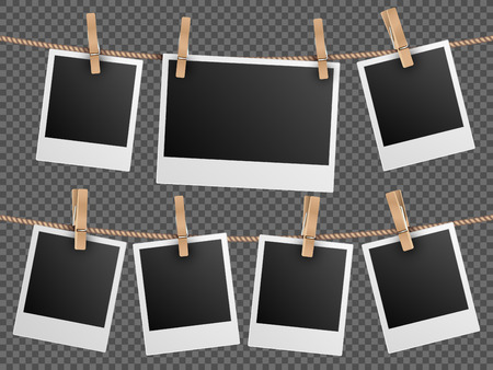 Retro photo frames hanging on rope isolated on checkered transparent background. Vintage photo picture blank, vector illustration Vettoriali