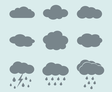 meteorologist: Vector weather icons set. Clouds and rain signs. Collection of signs for weather forecast illustration