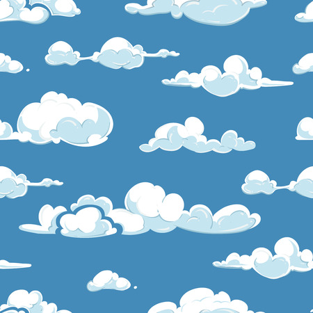 starfall: Vector clouds weather seamless pattern. Background blue sky illustration