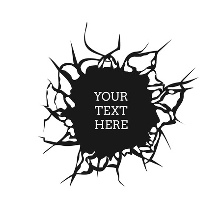 destruction: Cracked hole on white wall with space for text vector illustration. Emblem banner with crack destruction Illustration