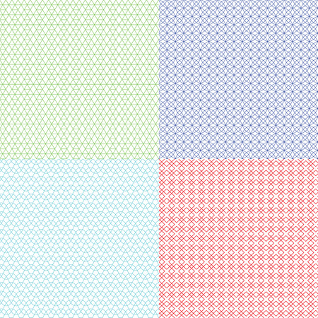 banknote: Guilloche patterns vector set for voucher, banknote, certificate and money texture. Watermark endless abstraction background colored illustration Illustration