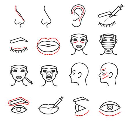 化粧品のプラスチック顔手術ベクトル細い線アイコンを設定します。目、唇、鼻のイラスト医療の手順