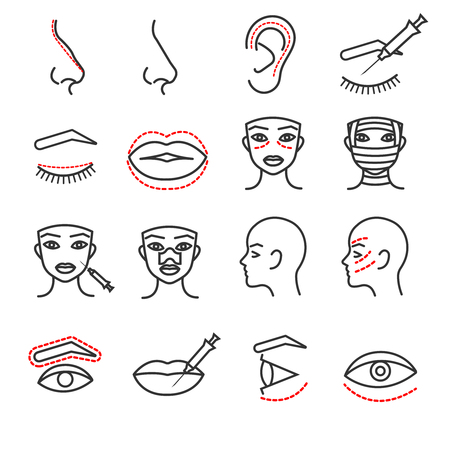 Cosmetic plastic face surgery vector thin line icons set. Procedure medical with eye, lip and nose illustration