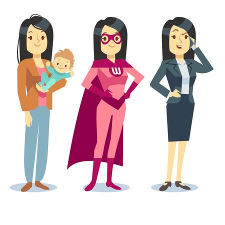Super femme en costume de super héros, maman avec bébé, femme d'affaires d'équilibrage concept de vecteur. La maternité et l'emploi de carrière illustration Banque d'images - 63061303