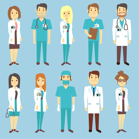 practitioner: Doctors nurses medical staff people vector characters in flat style. Practitioner and surgeon in uniform, occupation professional physician illustration