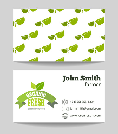 negocios comida: Organic fresh food farmer business card with green pattern. Vector illustration Vectores
