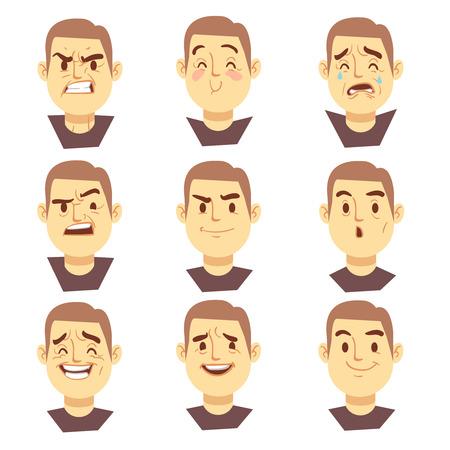 Man Emotionen Gesichter Vektor-Cartoon-Business-Zeichen gesetzt. Mood freudige oder aggressiv, Charakter Gesicht traurig oder glücklich Illustration
