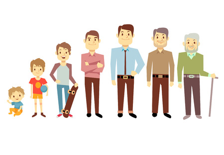 Men generation at different ages from infant baby to senior old man vector illustration. Teenager and young man, process aging