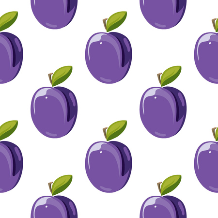 peafowl: Blue plum fruits with green leaves vector seamless pattern illustration Stock Photo