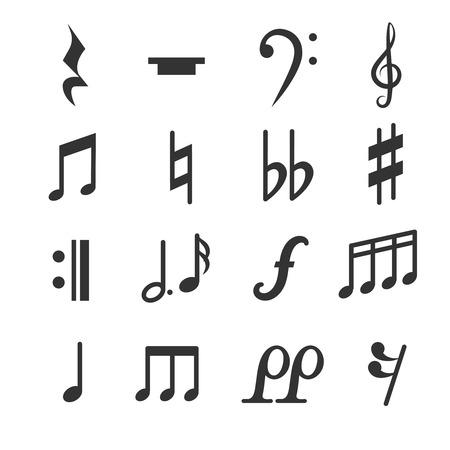 La música observa símbolos conjunto de vectores. Diez y signos musicales planas ilustración
