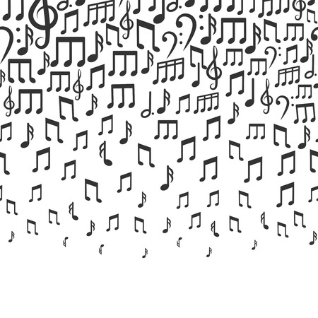 tempo: Music vector background with falling musical notes. Rhythm tempo and bass sound illustration Illustration