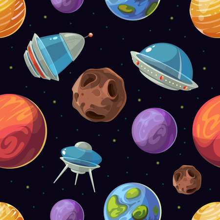 space cartoon: Cartoon space with planets, spaceships, ufo vector seamless background. Exploration galaxy in computer game illustration