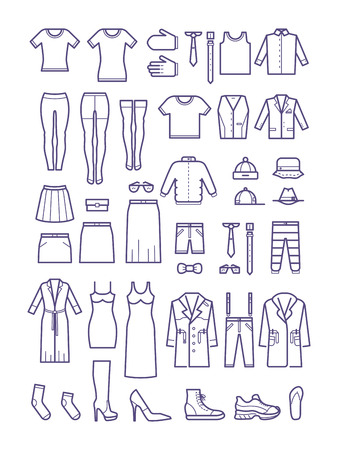 casual fashion: Female and male casual clothes, garment outline vector icons. Fashion shirt and dress, coat and jacket illustration Illustration