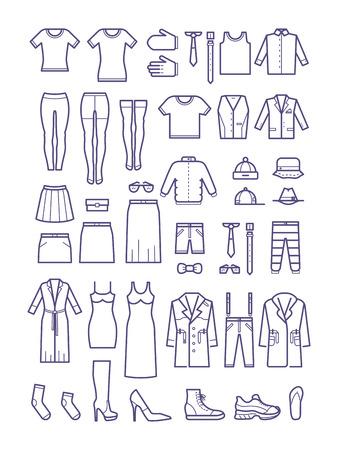 Vrouwelijke en mannelijke casual kleding, kleding overzicht vector iconen. Fashion shirt en jurk, jas en vest illustratie