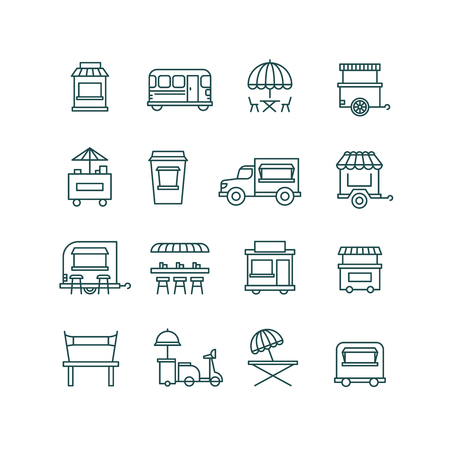 Street food retail, food truck line vector icons. Facade mobile cafe and restaurant illustration Illustration