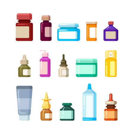 bottle of medicine: Medicine bottles for drugs, pills and vitamins flat vector icons. Vitamin and antibiotic in glass bottle illustration