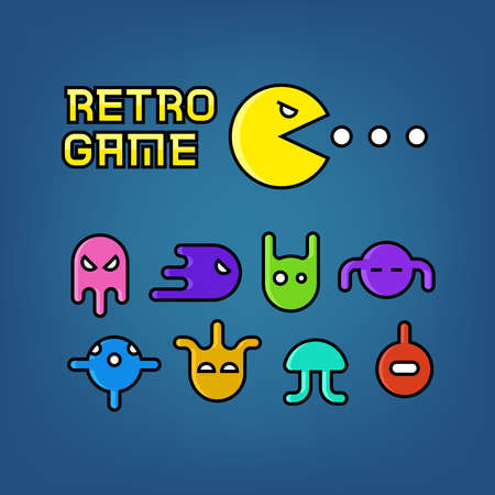 Pac man and ghosts for arcade computer game vector. Set of character retro monster illustration