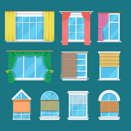 window shades: Flat vector window with curtains, drapery and shades blinds. Modern decor and interior for room illustration