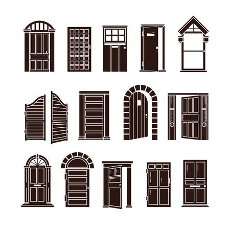 portone: Apertura e chiusura delle porte nero vettore impostare le icone. L'ingresso alla casa o porta per illustrazione ufficio