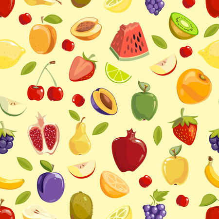 miscellaneous: Miscellaneous vector colored fruits seamless pattern background. Vector illustration
