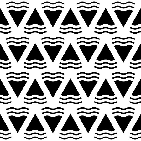 entropy: Vector abstract geometric seamless pattern in black and white. Background in monochrome style illustration