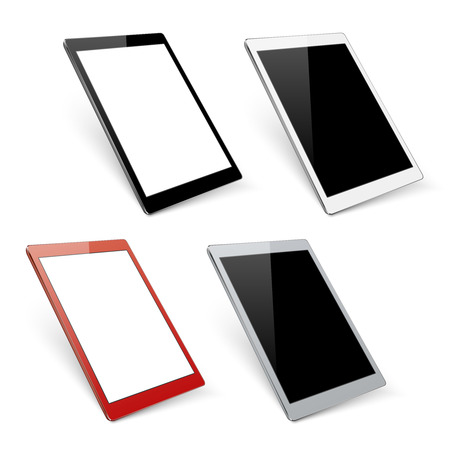 Varicoloured vector tablet mockups. Device gadget with digital screen illustration