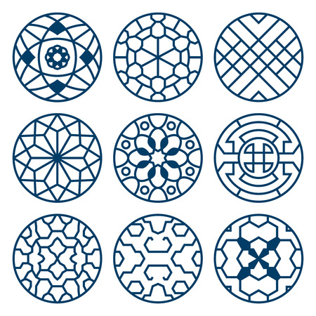 korean traditional: Chinese, korean traditional vector repeat symbols, bathroom decoration. Set of round elements with pattern illustration