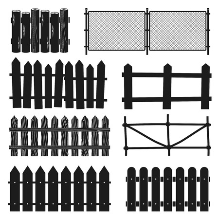 Rural wooden fences, pickets vector silhouettes. Illustration of paling straight for protection and security Illustration
